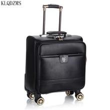 Trolley Case Rolling-Luggage Fashion Spinner Wheel-Cabin Carry-On 16inch KLQDZMS PU