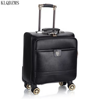 KLQDZMS 16Inch Fashion PU leather Rolling Luggage Spinner Carry On Travel Suitcase Wheel Cabin Trolley Case