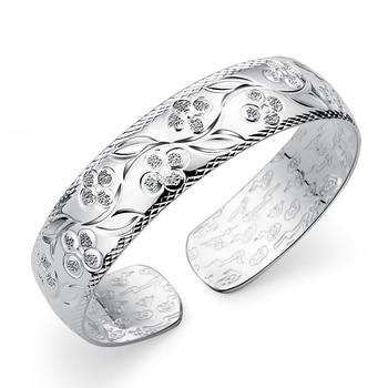 8590cf2c7432 Brazalete de plata de ley 999 Real para mujer elegancia trébol patrón  joyería fina brazalete al por mayor