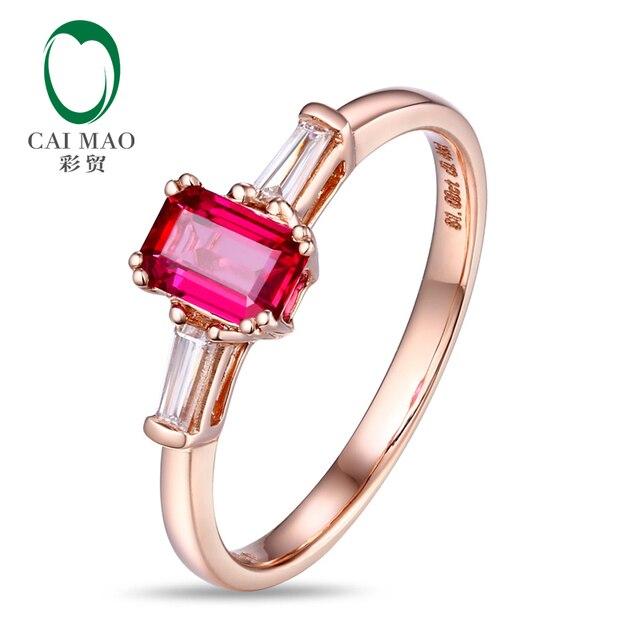 Природных 0.63ct Рубин Багет Алмаз 18-каратного Розового Золота Обручальное Кольцо Бесплатная Доставка