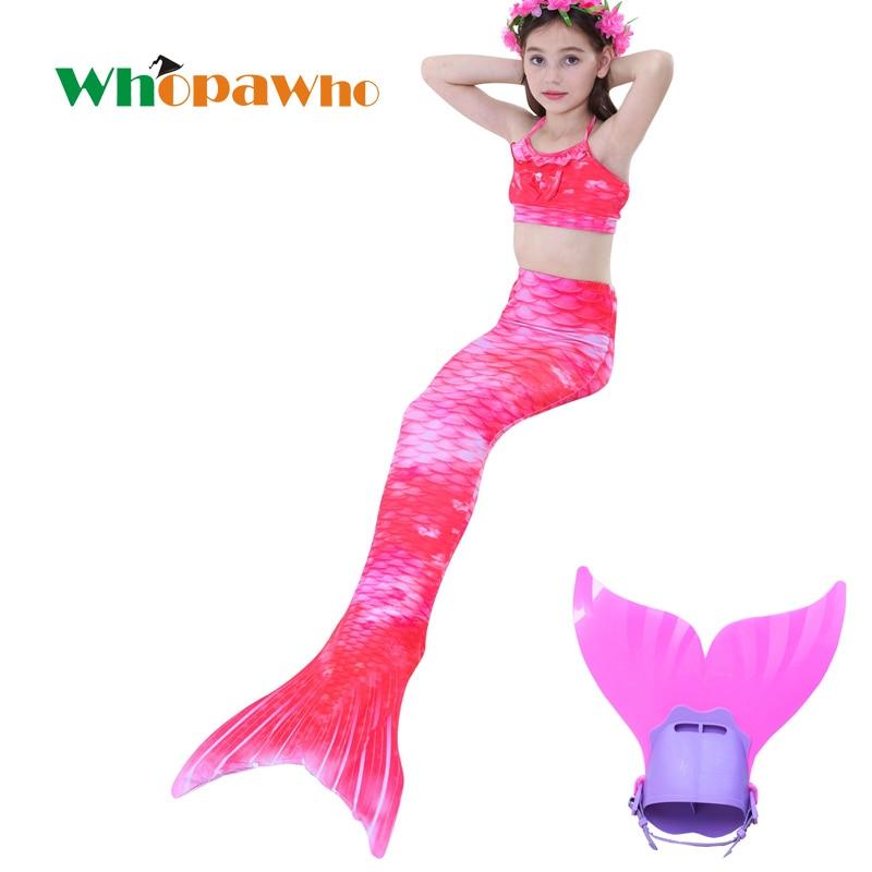 Cadeau de noël enfants queue de sirène avec Monofin pour filles enfants Costume natation Halloween maillot de bain queue de sirène