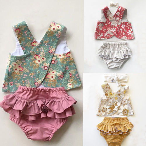 Summer Flower Baby Girls Outfit Clothes Vest Tops T-shirt+Tutu Shorts Pants Set