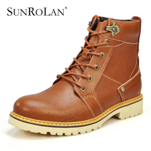 SUNROLAN new arrival genuine leather fashion men boots winter warm plush cotton cow split brown coffee male working boots 3173