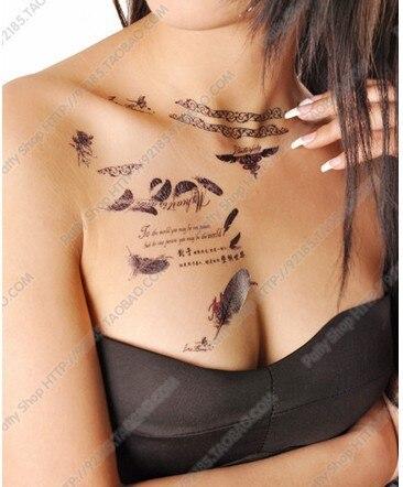 feather mots anglais lettres tatouages temporaires épaule bas du dos
