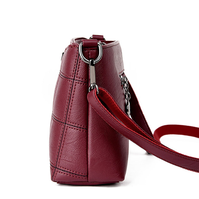 Women Genuine Leather Plaid Messenger Bags Sac a Main Shoulder Bags Women Crossbody Bag Ladies High Quality Sheepskin Handbags