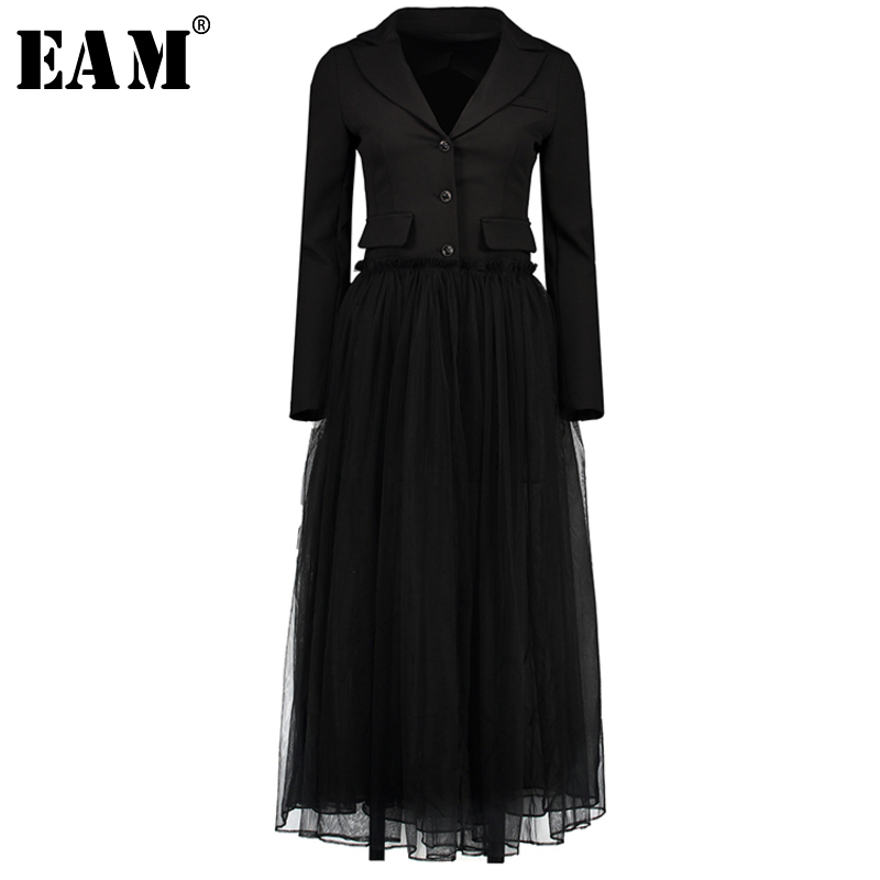 [EAM] 2018 New Summer Fasshion Tide Turn-down Collar Long Sleeve Single Breasted Patchwork Mesh Perspective Woman Dress SA259
