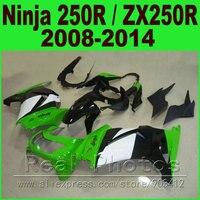 Owiewki dla Kawasaki Ninja 250r 2008-2014 Motocyklowe kit EX250 2009 2010 ZX 250 2011 2012 tanie zestawy fairing części z tworzyw sztucznych