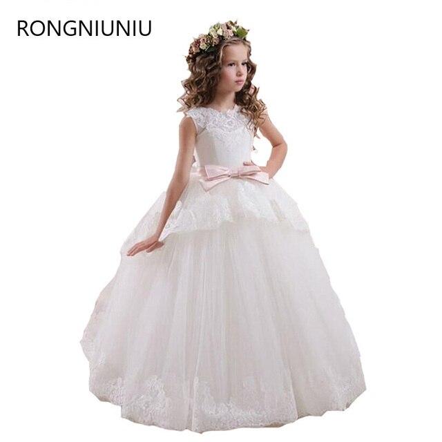 vestidos de nia para bodas elegante rosa blanca escarpada del cordn de tulle v volver vestidos