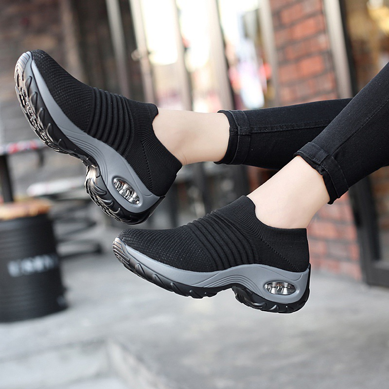 Women 39 s Shoes Socks Women 2019 Spring and Summer Increased Air Cushion Mother Shoes Seniors Casual Dance Shoes Large Size in Women 39 s Vulcanize Shoes from Shoes