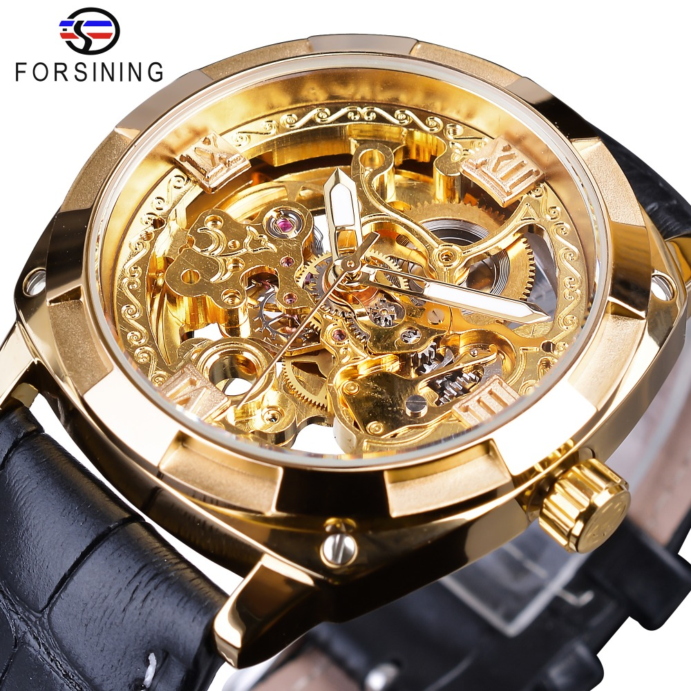 Forsining Golden Skeleton Clock Male Mens Mechanical Wrist Watches Top Brand Luxury Black Genuine Leather Belt Luminous HandsForsining Golden Skeleton Clock Male Mens Mechanical Wrist Watches Top Brand Luxury Black Genuine Leather Belt Luminous Hands