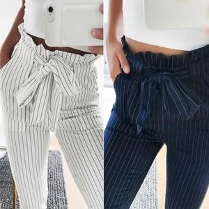 Image 1 - Fashion Summer Women Harem Pants Striped OL High Waist Elastic Bow Tie Drawstring Pockets Ladies Casual Trousers  MX8