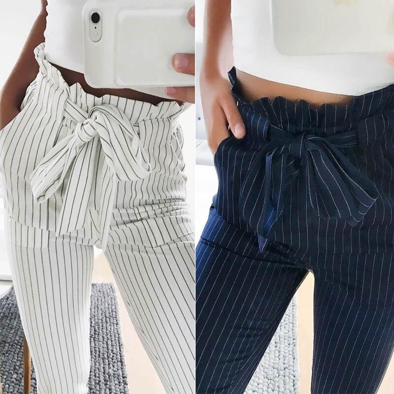 Moda Verão Mulheres Harem Pants Listrado OL Cintura Alta Elástico Gravata borboleta Com Cordão Bolsos Das Senhoras Calça Casual-MX8
