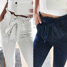 Moda yaz kadın Harem pantolon çizgili OL yüksek bel elastik papyon İpli cepler bayanlar günlük pantolon MX8
