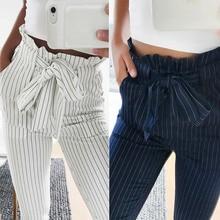 Pantalon sarouel pour femmes à rayures OL, taille haute élastique, nœud papillon, poches avec cordon de serrage pour dames, pantalon décontracté MX8