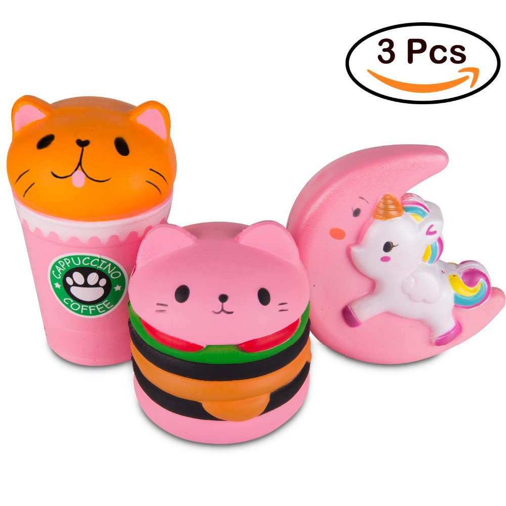 Free Shipping Kawaii Jumbo Pink coffee Cat 3Pcs Squishy Slow Rising Sweet Scented Soft Stress Relief Toys Fun Squeeze Toys #CS