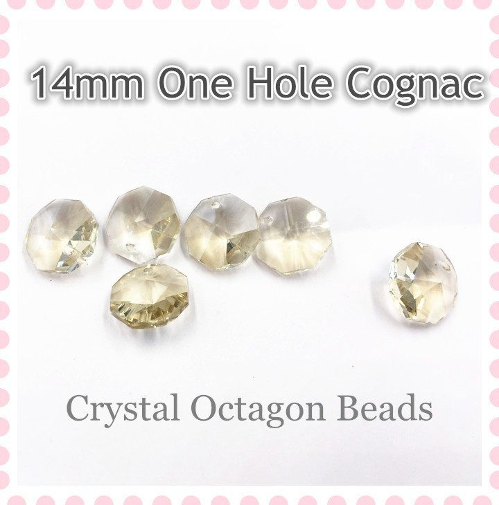 Hot ! 500pcs 14mm Cognac One Hole crystal glass prism octagon beads for chandeliers strand garlands diy hanging accessories