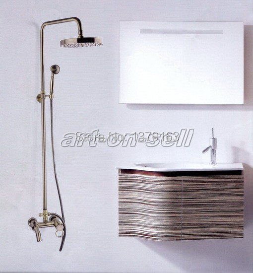 Antique Bronze Wall Mounted Single Handle Bath Rain Shower Tub Faucet Set With Hand Shower aqg002