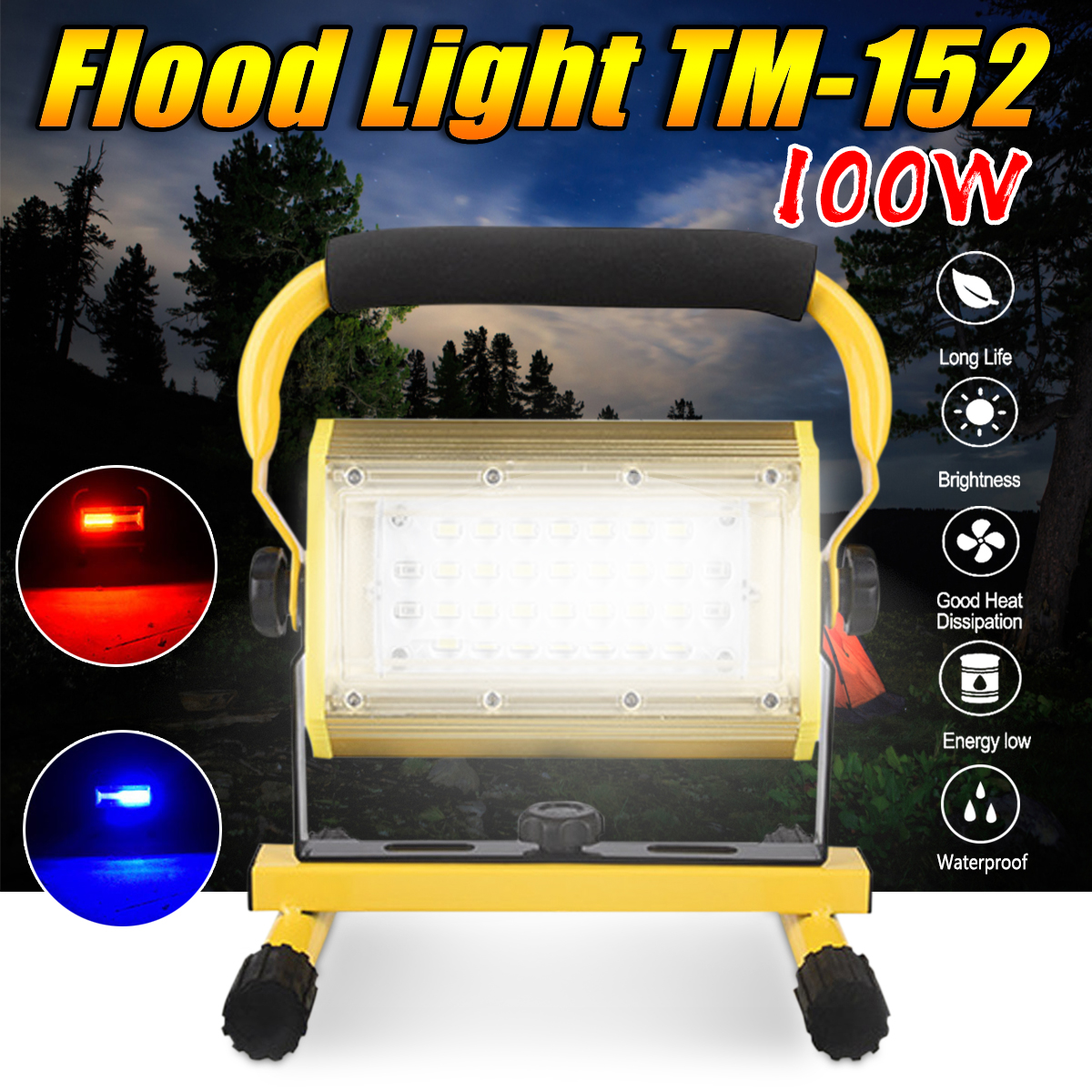 2400lm 100W LED Portable COB Flood Light LED Flashlight Work Light Waterproof IP65 for Outdoor Camping cob led work light waterproof lawn lamp flashlight 20w high power 2400lm outdoor hiking camping tent light portable searchlight