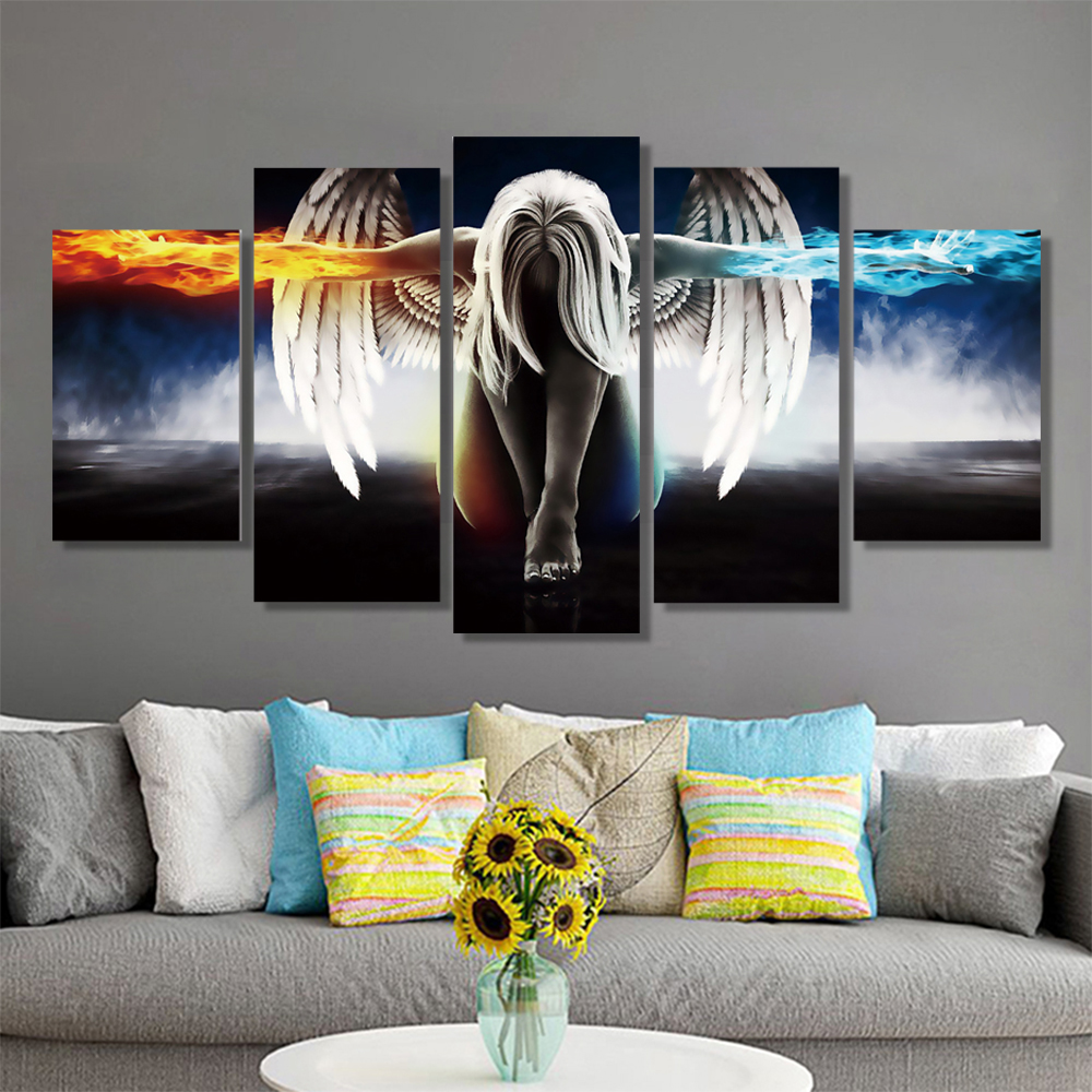 Unframed 5 HD Canvas Prints Colorful Characters Depict Living Room Decoration Murals Module Art Spray Painting Unframed(