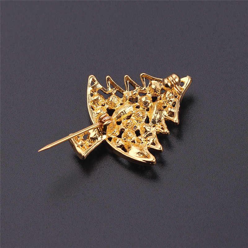 Pohon Natal Merah Hijau Rhinestones Bros Emas Pohon Natal Dekorasi Ransel Topi Pin Bros Perhiasan Hadiah