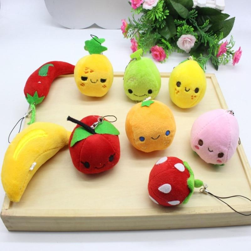 10gab. Karikatūras augļu kuloni, ābolu zemeņu čili rotaļlietu ķēde, bērniņu bērnu Ziemassvētku dzimšanas dienas kāzu veicināšanas dāvanas meiteņu zēniem
