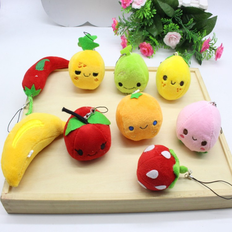 10pcs cartoon fruits pendants,apple strawberry chili toys chain,kids baby Christmas birthday wedding promotion gifts girls boys