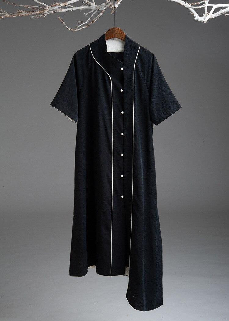 Original Design Chinese Style Summer 2019 Retro Improvement Cheongsam Cardigan Asymmetric Loose Copper Ammonia Big Shirt D542 Women's Clothing