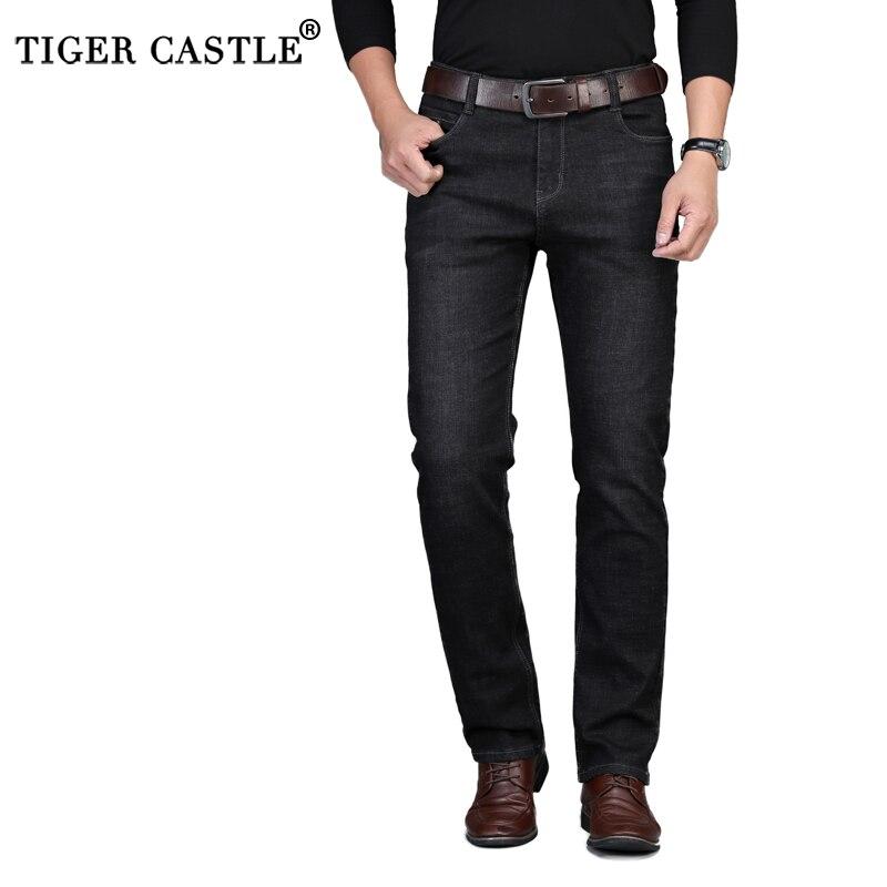 Winter Autumn Slim Thick Warm Fleece Men   Jeans   Business Stretch Fit Straight Cotton   Jeans   Casual Black Denim Pants Trousers