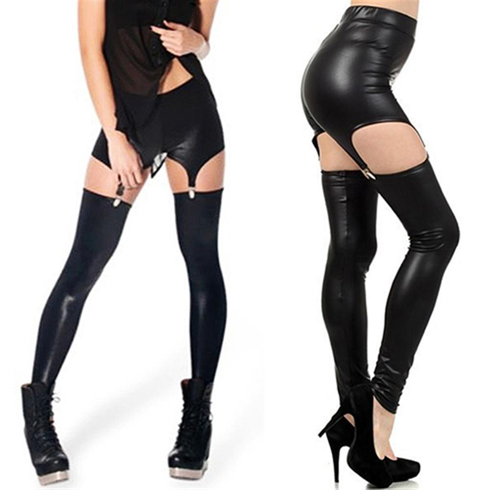 232795cb6e09f6 Fashion sexy Women Faux Leather Leggings Suspender Buckle Waist Garter  Elastic Pants Middle waisted Casual Leggings -in Leggings from Women's  Clothing on ...