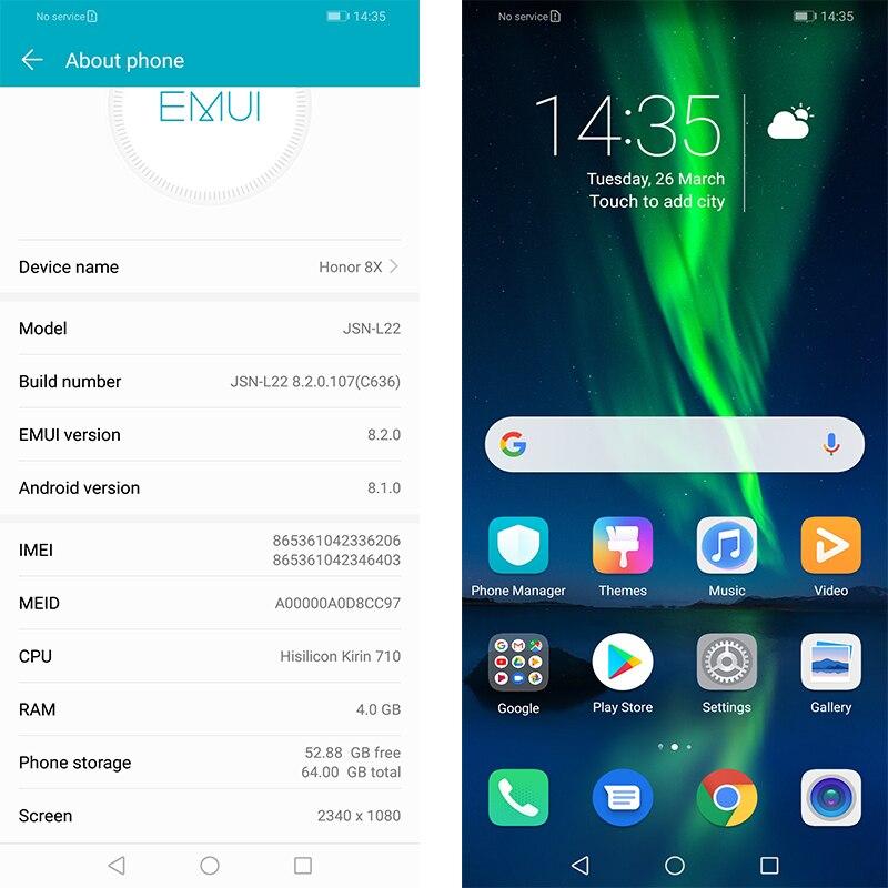 Rom globale Huawe Honor 8X6.5 ''plein écran OTA mise à jour Smartphone pas 8x max téléphone portable Android 8.1 Octa Core identification d'empreintes digitales - 4