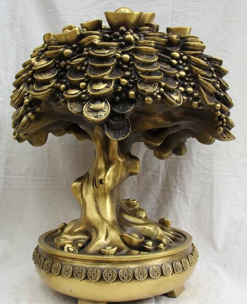 JP S0524 17 China Chinese Brass Folk Treasure Bowl Money Tree Coin Wealth Yuan Bao Statue