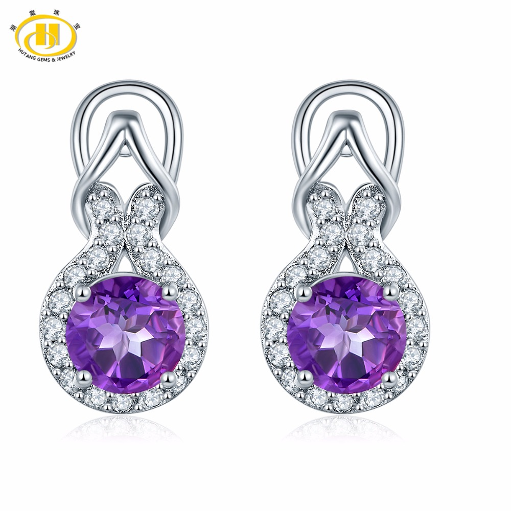 Hutang Stone Jewelry Clip Earrings Natural Gemstone African Amethyst Solid 925 Sterling Silver Fine Jewelry For Women's Gift NEW