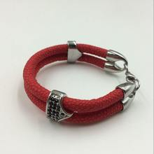 Red Color Stingray Bracelet Leather and Plated Black CZ High Quality(China)