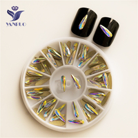 YANRUO 2538NoHF AB 3*10mm Raindrop Non Hotfix Glass Crystal Glue On Strass Flatback Rhinestones Nail Supplies