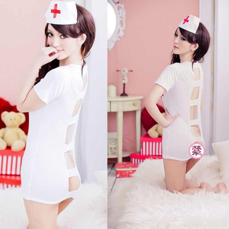 Nurse Erotic Sexy Costumes V neck Cosplay Nightgown Lingerie Dress ...
