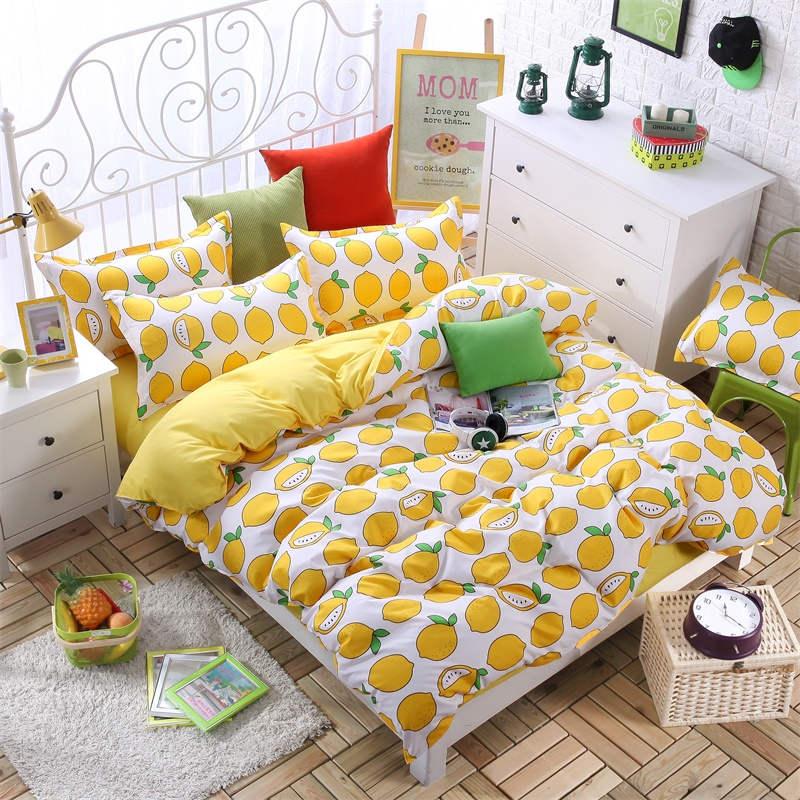 Yellow Lemon Fruit Prints Bedding Set Bedspreads