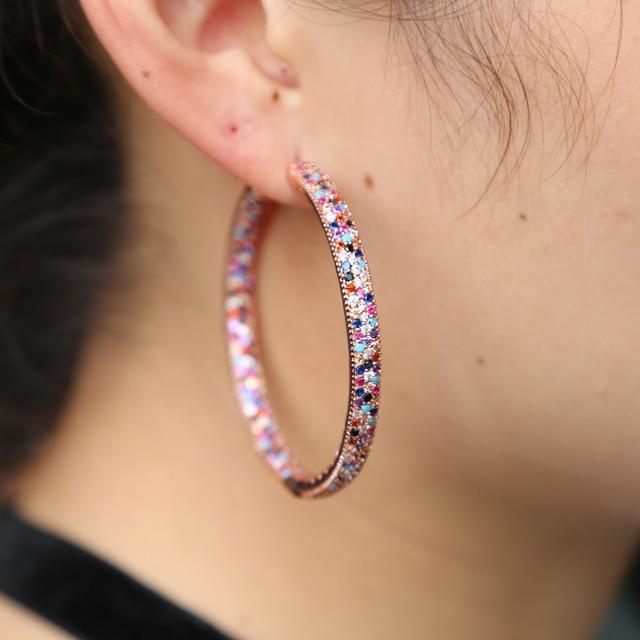 Фото женские серьги с радужным камнем большие разноцветные 50 мм цена