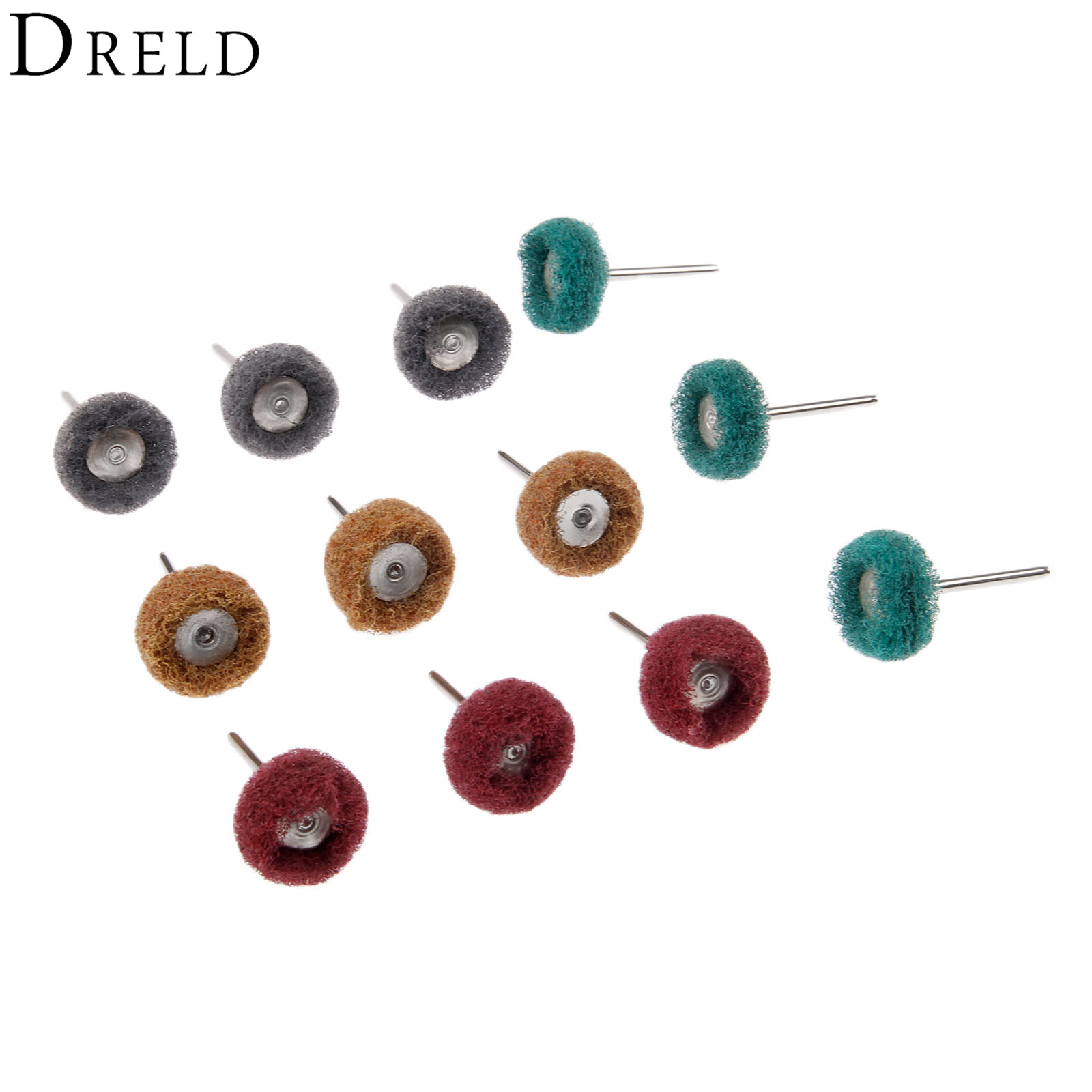DRELD 12Pcs Dremel Accessories 25mm Abrasive Brush Metal Surface Grinding Buffing Polishing Wheel Set 3mm Shank For Rotary Tool