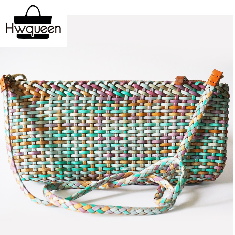 100% Handmade Knitted Color-mixing Designer Genuine Leather Ladies Flap Bag Woven Thin Purse Female Women's Single Shoulder Bag 100% hand knitting designer genuine leather ladies graceful purse retro cowhide women s single shoulder bag female woven handbag