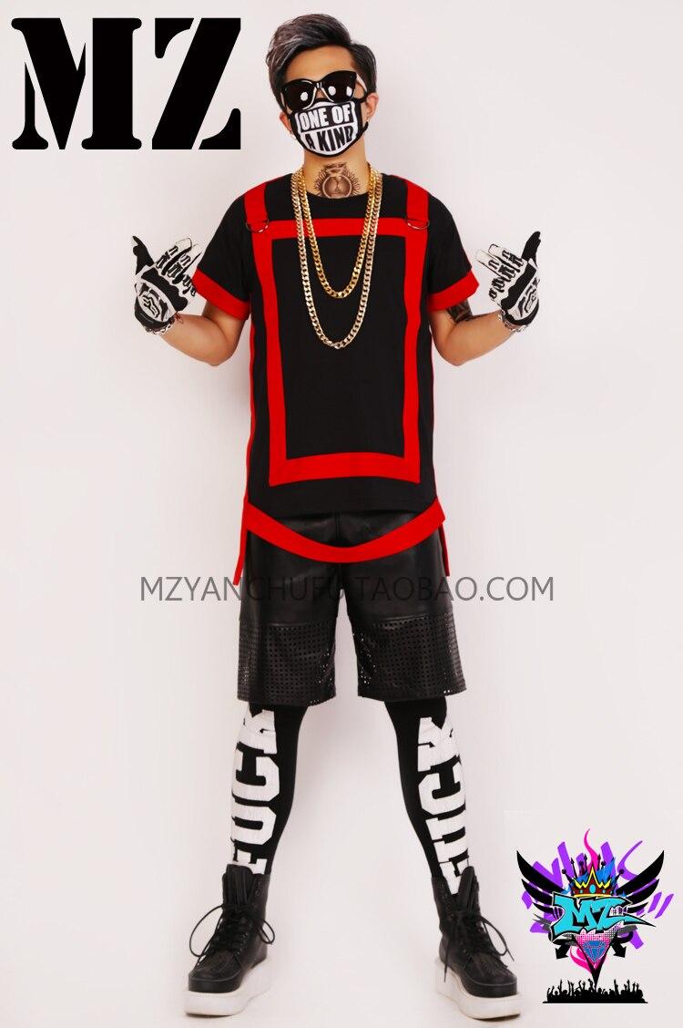Discothèque d'été mâle chanteurs effectuer costumes bar mâle DJ garniture noir rouge patchwork T-shirt + PU shorts hip-hop hommes de DS stade