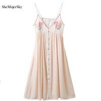 SheMujerSky 2017 Maxi Dress Embroidery Boho Beach Long Dresses Women Summer Vestidos