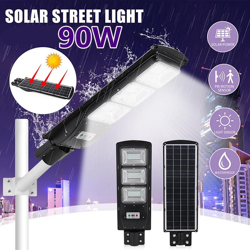 90W LED Solar Street Light Wall Garden Lights Waterproof Outdoor Lighting With Remote Dusk To Dawn PIR Motion Sensor