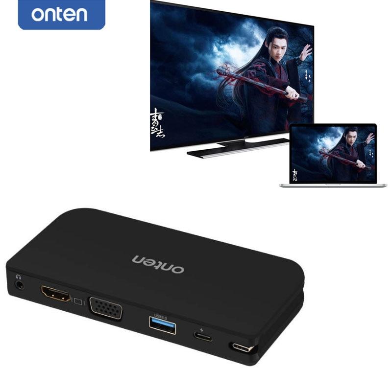 ONTEN USB C TYPE C vers HDMI VGA USB 3.0 Audio adaptateur vidéo convertisseur pour macbook Chromebook Pixel à tv projecteur