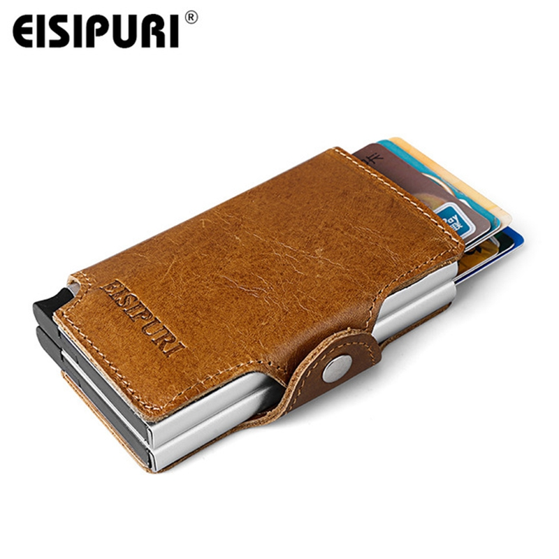 Men Women Genuine Leather double Metal Wallet Credit Card Holder Aluminium RFID Blocking Hasp Mini Vintage purse Hold 14 Cards ljl bullcaptain genuine leather men wallet rfid blocking vintage bifold wallets credit cards holder