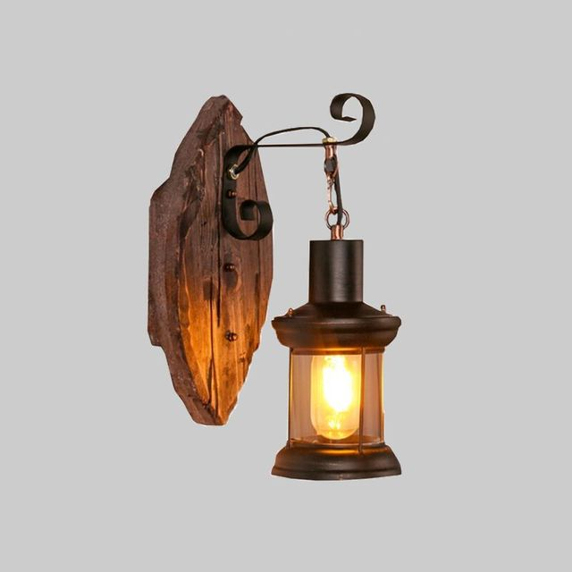 Retro Industrial Wall Lamp Old Wood Country Nostalgia Iron