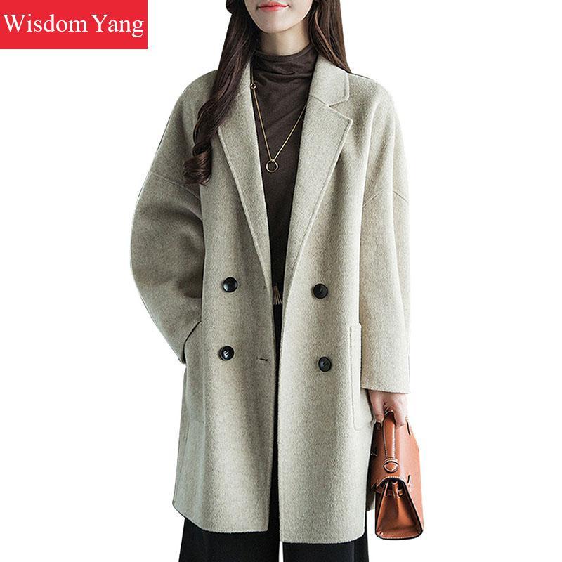Elegant Winter Coat Beige Oversize Sheep Wool Coats Women Long Korean Ladies Double Breasted Loose Woolen Overcoat Outerwear