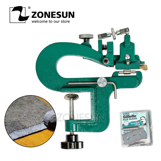 ZONESUN ER809G Leather Splitter Leather Paring Device Kit Max 35mm Width Leather Skiver Vegetable Tanned Leather Peeler