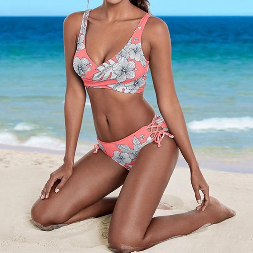 Sexy swimwear women 2018 cross bikini set flowers print swimwear bandage push-up padded swimsuit women beach wear biquini