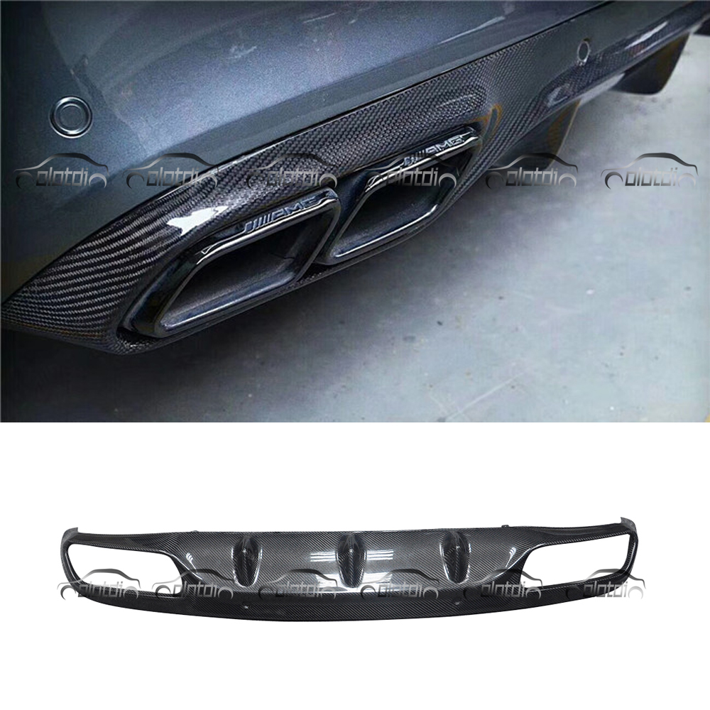 AMG Style Car Styling Real Carbon Fiber Rear Lip Bumper Spoiler Diffuser for Mercedes Benz W205 2 Door Sport Version C63 for mercedes benz cla class w117 cla180 cla200 cla250 cla45 amg carbon fiber front lip splitter flap canard fits sporty car amg