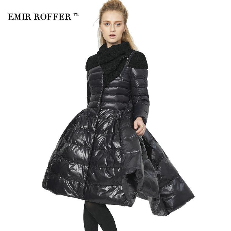 EMIR ROFFER 2017 new fashion winter italy Women's down jacket skirt long coat female white duck down parka femme big size